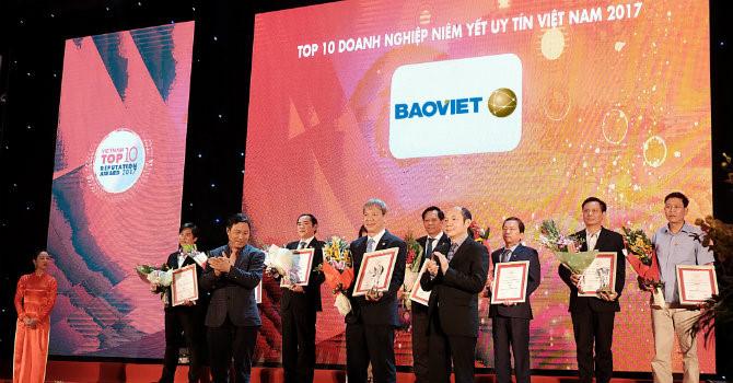 Tập đoàn Bảo Việt được vinh danh trong Top 10 Doanh nghiệp niêm yết uy tín năm 2017
