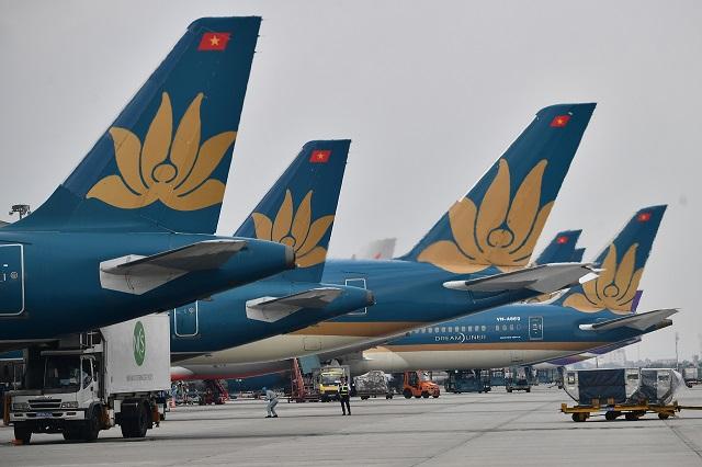 Gần 100 trong tổng số 106 máy bay của Vietnam Airlines ngừng hoạt động