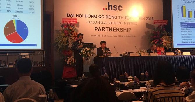 ĐHĐCĐ Chứng khoán HSC: Năm 2018 sẽ tăng vốn mạnh tài trợ cho hoạt động margin và tự doanh