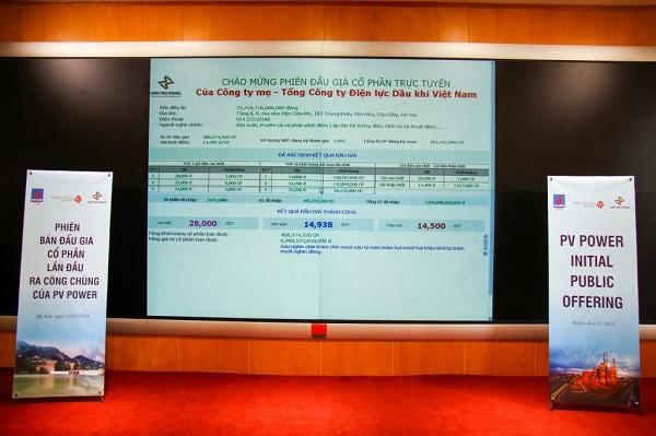 IPO PVPower: Giá đấu thành công 14,938 đồng/cp, thu về gần 7,000 tỷ đồng