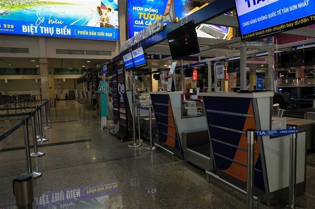 Cảnh vắng lặng tại sân bay Tân Sơn Nhất