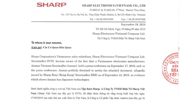 """Sharp Việt Nam khẳng định Asanzo """"giả mạo chứng thư hợp tác"""""""